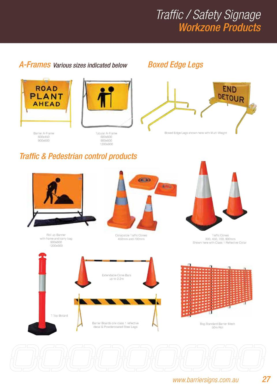 Traffic   Safety Signage Workzone Products  A-Frames  Various sizes indicated below  Barrier A-Frame 600x450 900x600  Tubu...