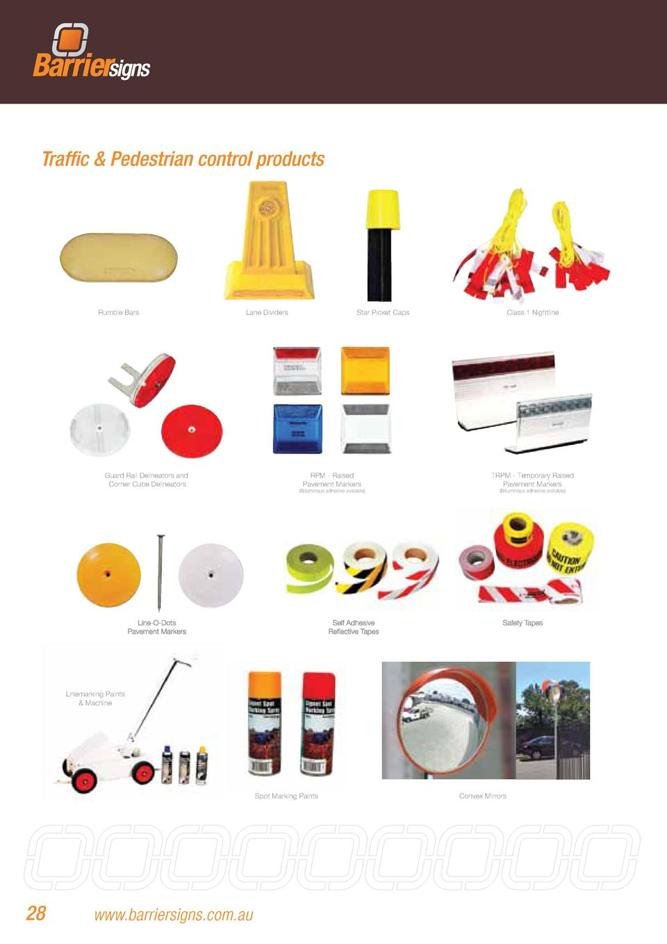 Traffic   Pedestrian control products  Rumble Bars  Lane Dividers  Guard Rail Delineators and Corner Cube Delineators  Sta...
