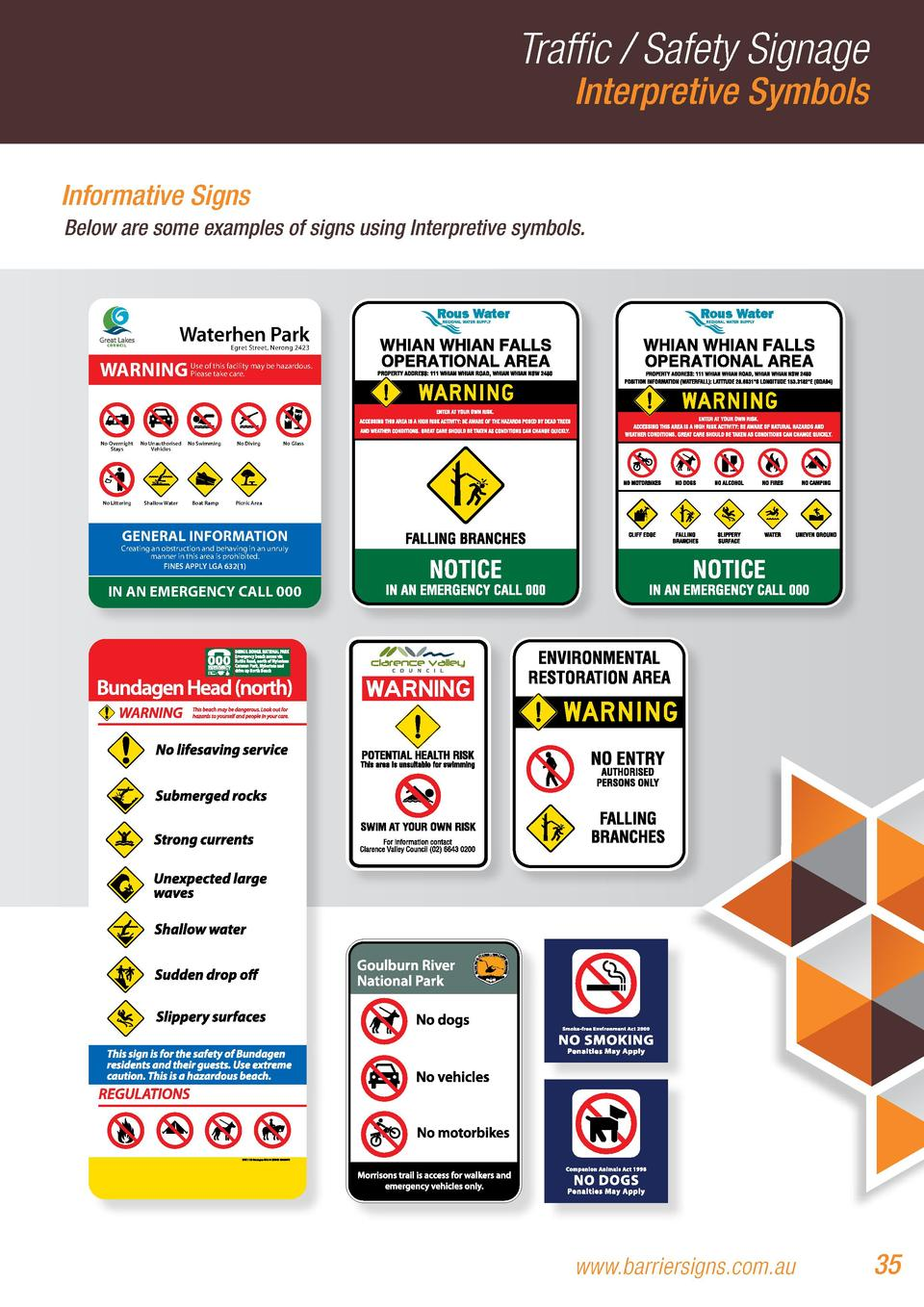 Traffic   Safety Signage Interpretive Symbols  Informative Signs Below are some examples of signs using Interpretive symbo...