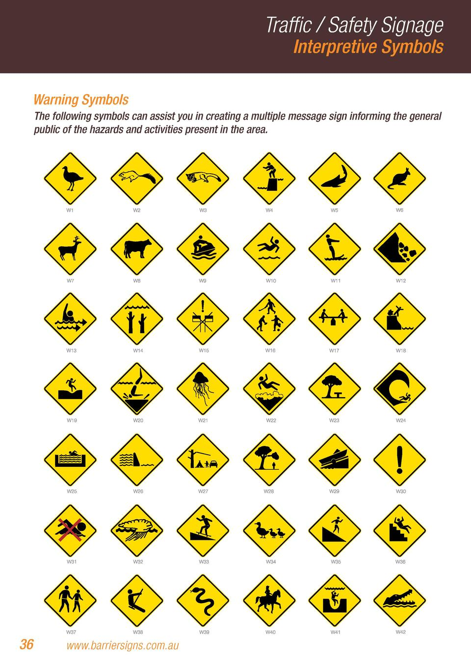 Traffic   Safety Signage Interpretive Symbols  Warning Symbols The following symbols can assist you in creating a multiple...