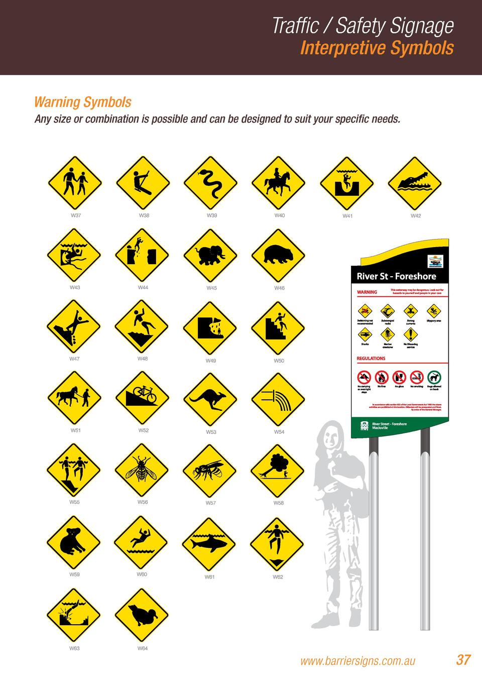 Traffic   Safety Signage Interpretive Symbols  Warning Symbols Any size or combination is possible and can be designed to ...