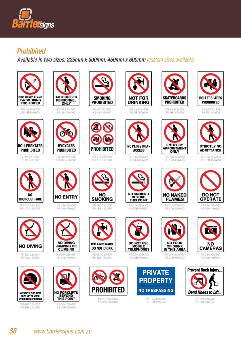 Prohibited Available in two sizes  225mm x 300mm, 450mm x 600mm  custom sizes available   PS-1A 225x300 PS-1B 450x600  PS-...