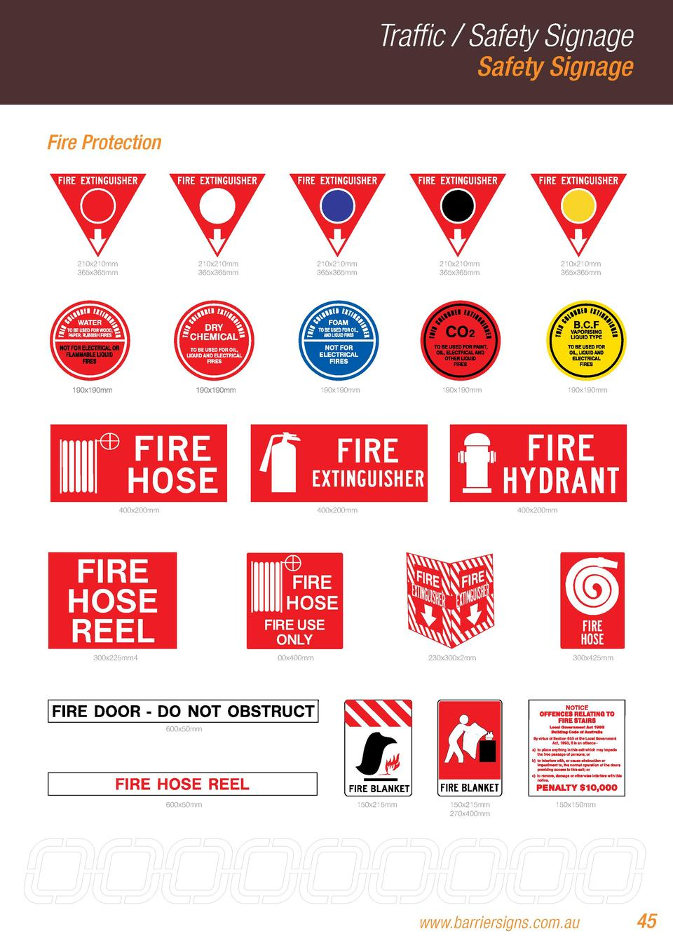 Traffic   Safety Signage Safety Signage  Fire Protection  210x210mm 365x365mm  210x210mm 365x365mm  210x210mm 365x365mm  1...