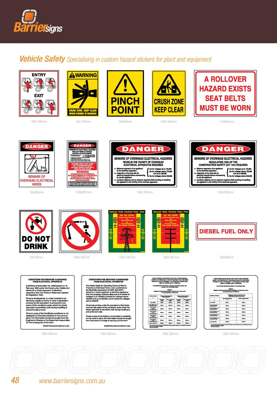 Vehicle Safety Specialising in custom hazard stickers for plant and equipment  120x140mm  70x100mm  65x85mm  150x225mm  55...