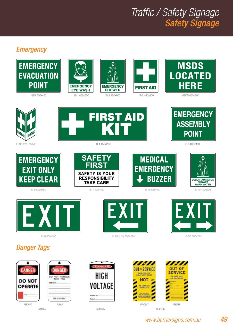 Traffic   Safety Signage Safety Signage  Emergency  F. AID 225x300x2  IS-6 600x450  IS-8 300x150  IS-7 600x450  IS-9 600x4...
