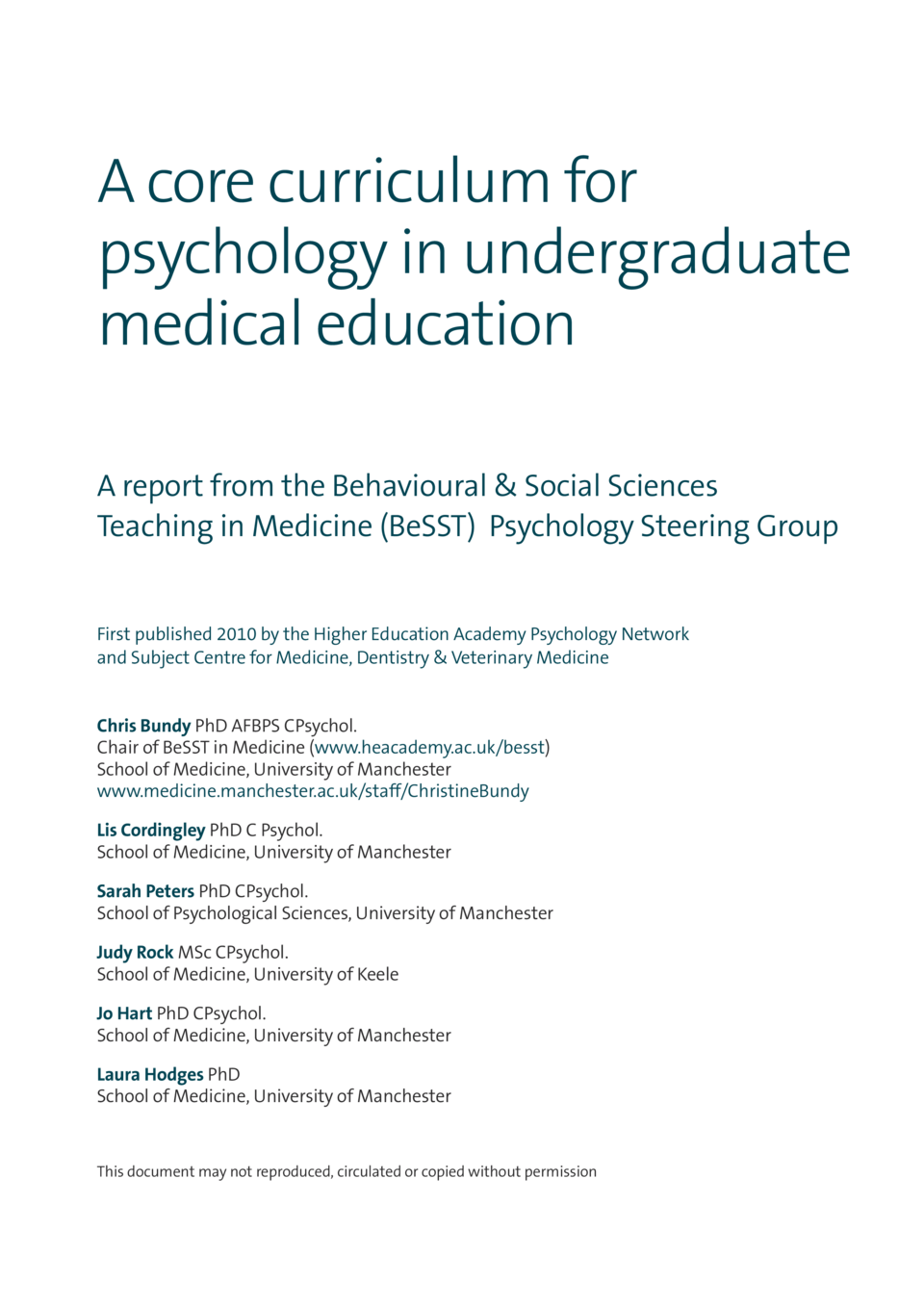 A core curriculum for psychology in undergraduate medical education A report from the Behavioural   Social Sciences Teachi...