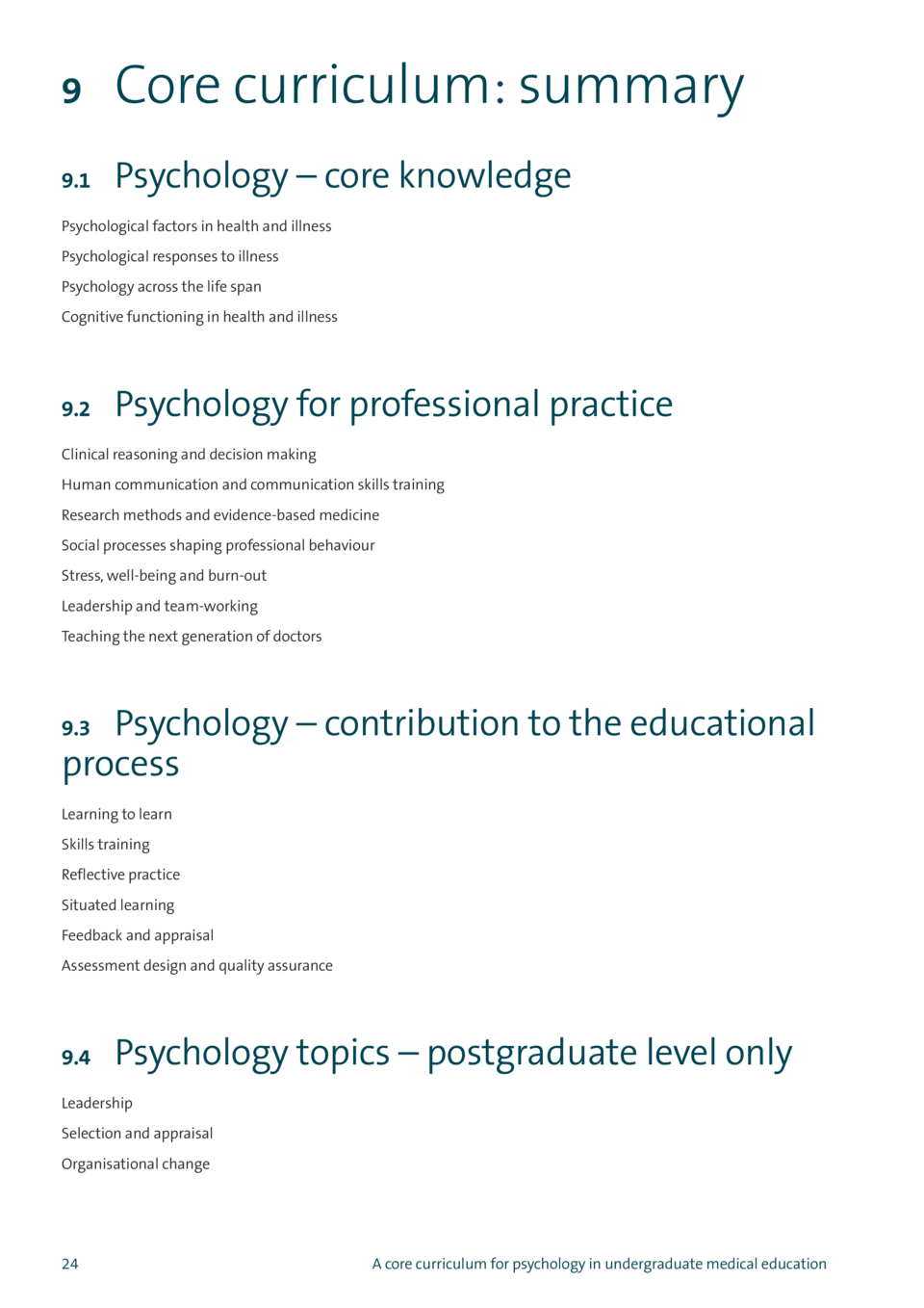 9  Core curriculum  summary  9.1  Psychology     core knowledge  Psychological factors in health and illness Psychological...