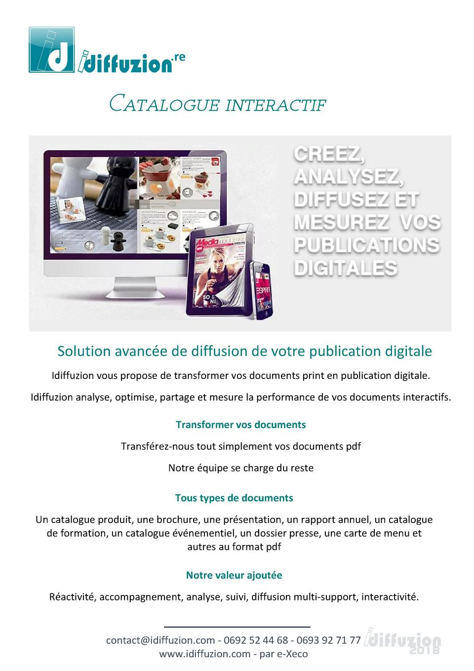 Catalogue interactif  Solution avanc  e de diffusion de votre publication digitale Idiffuzion vous propose de transformer ...
