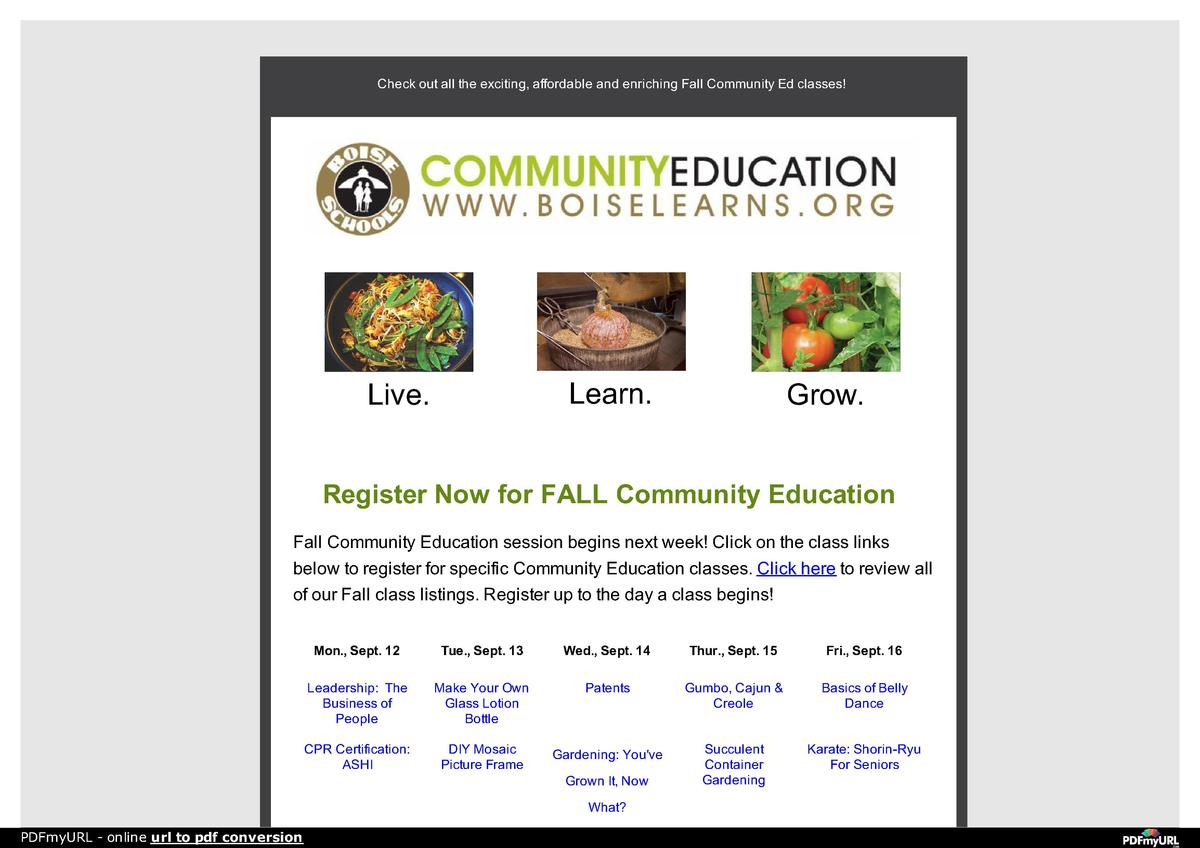 Check out all the exciting, affordable and enriching Fall Community Ed classes   Learn.  Live.  Grow.  Register Now for FA...