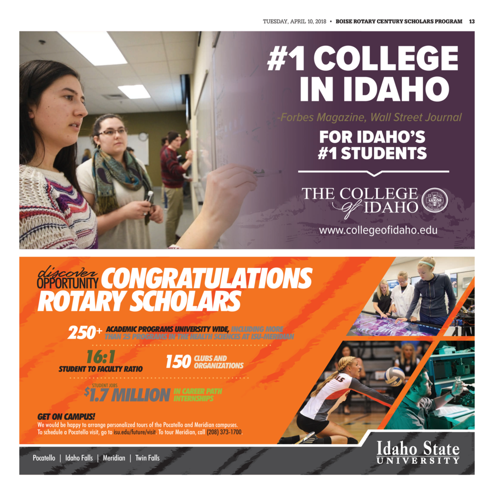 TUESDAY, APRIL 10, 2018     BOISE ROTARY CENTURY SCHOLARS PROGRAM  13   1 COLLEGE IN IDAHO  -Forbes Magazine, Wall Stre...