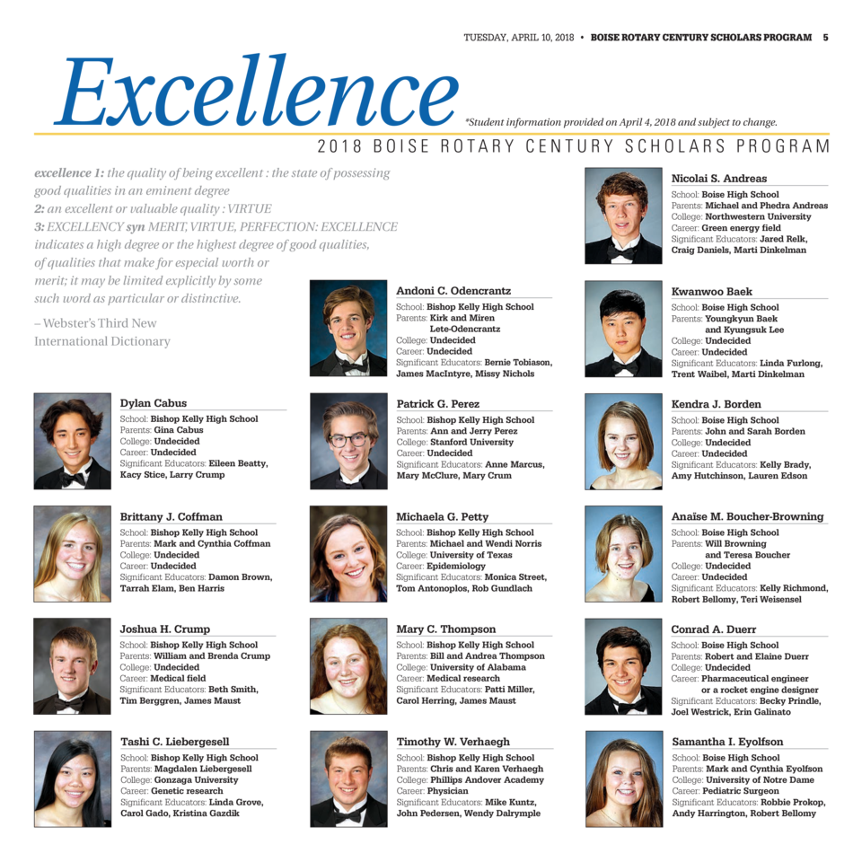 Excellence  TUESDAY, APRIL 10, 2018     BOISE ROTARY CENTURY SCHOLARS PROGRAM  5   Student information provided on Apri...