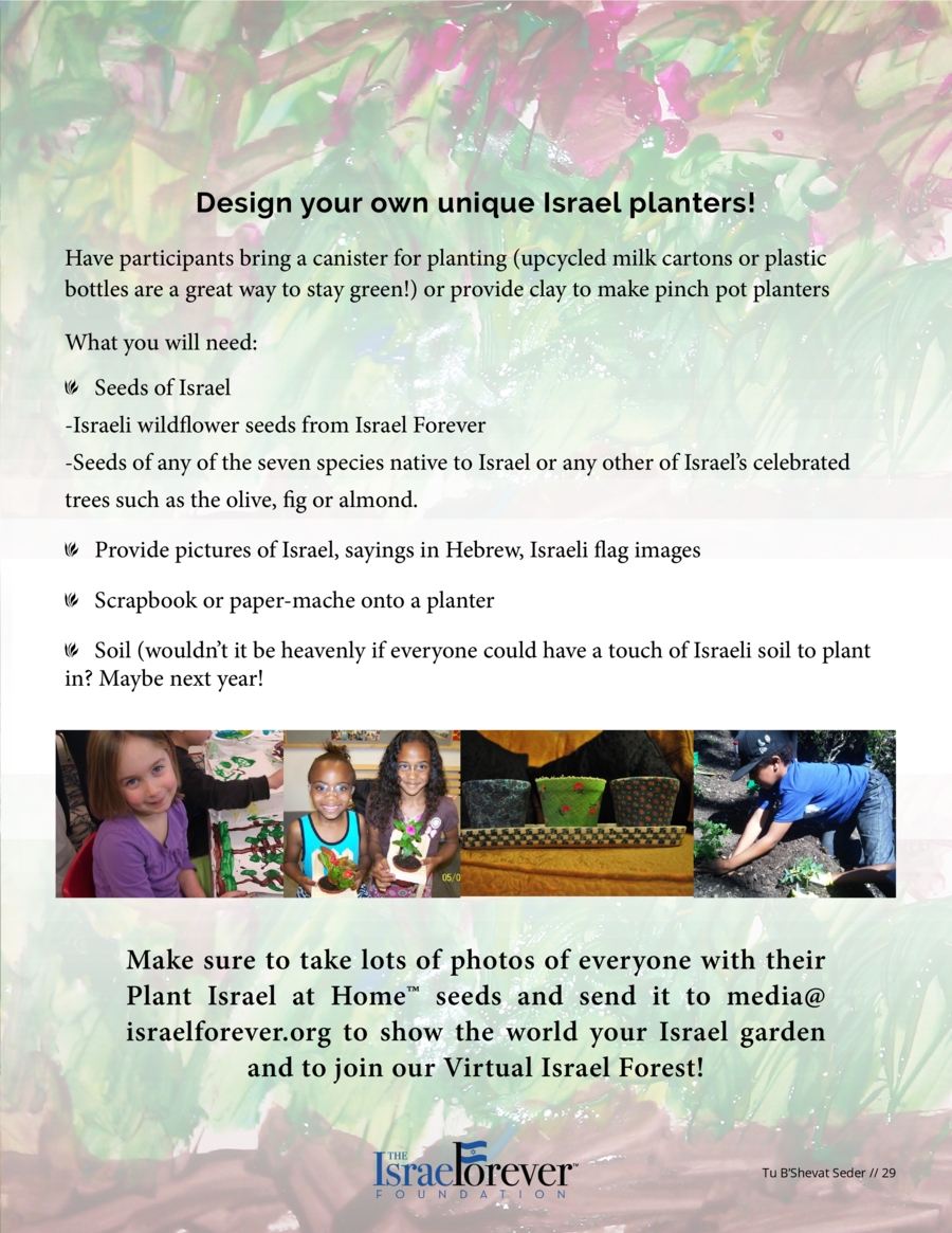 Plant Israel at Home Activity Israeli wildflowers are a thing of beauty. Their diversity is a reflection of the culture, s...