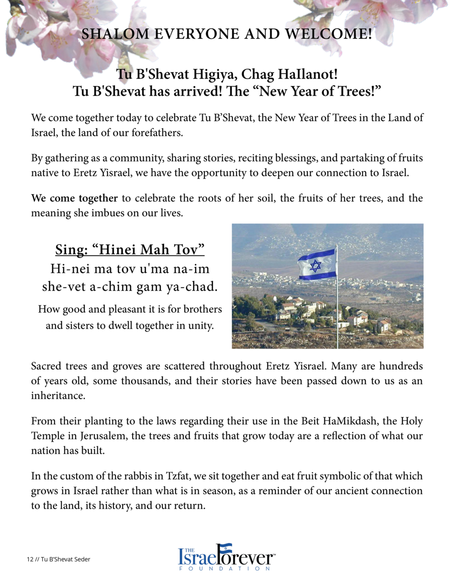Shalom everyone and welcome  Tu B Shevat Higiya, Chag HaIlanot  Tu B Shevat has arrived  The    New Year of Trees     We c...