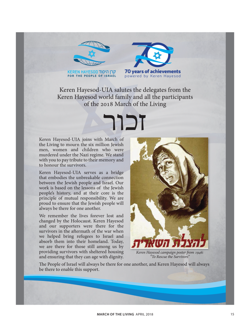 70 years of achievements  p owered by Keren Hayeso d  Keren Hayesod-UIA salutes the delegates from the Keren Hayesod world...