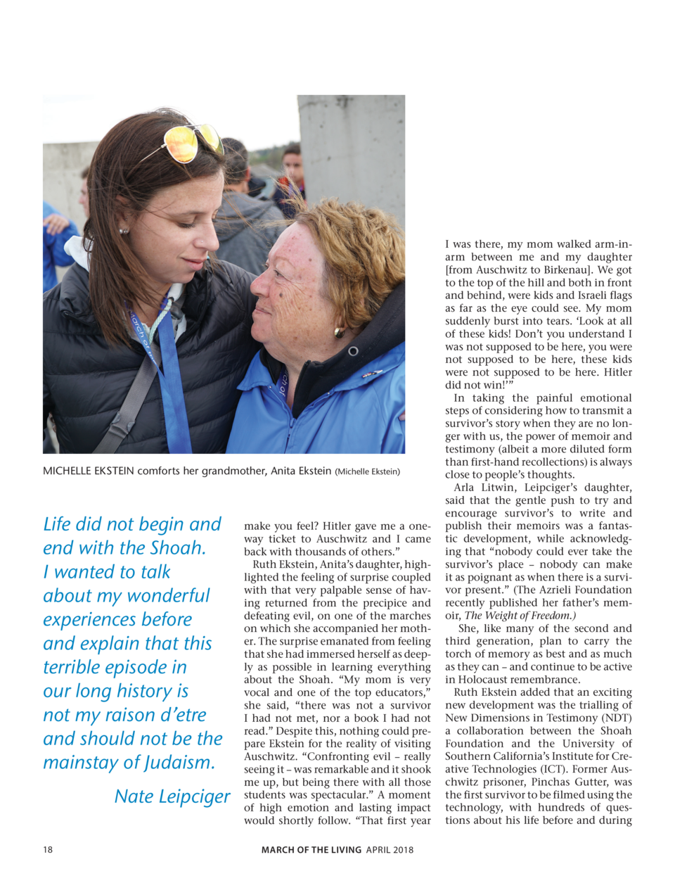 MICHELLE EKSTEIN comforts her grandmother, Anita Ekstein  Michelle Ekstein   Life did not begin and end with the Shoah. I ...