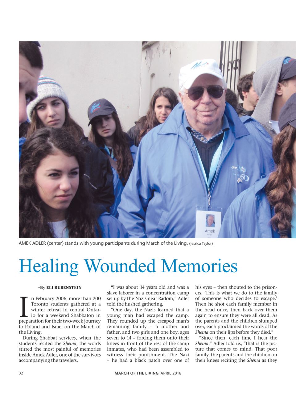 AMEK ADLER  center  stands with young participants during March of the Living.  Jessica Taylor   Healing Wounded Memories ...