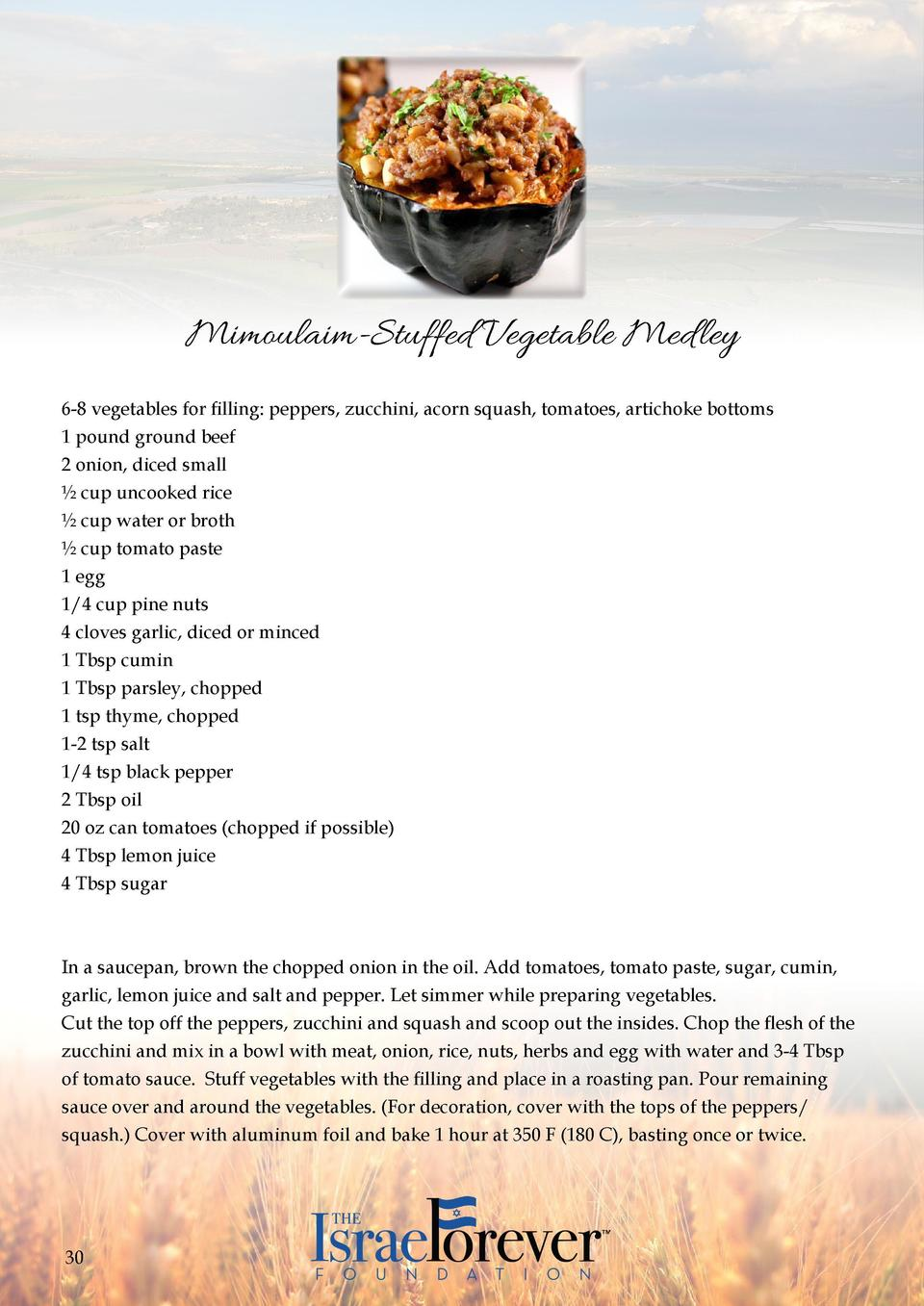 Mimoulaim-Stuffed Vegetable Med ley 6-8 vegetables for filling  peppers, zucchini, acorn squash, tomatoes, artichoke botto...