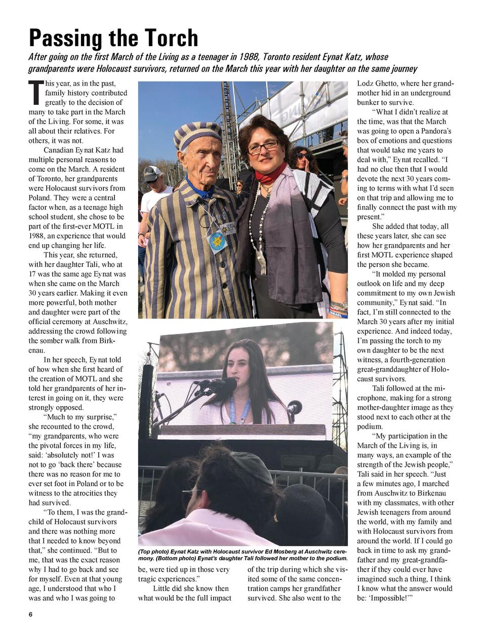 Passing the Torch  COVER STORY  A Day Like No Other  After going on the first March of the Living as a teenager in 1988, T...