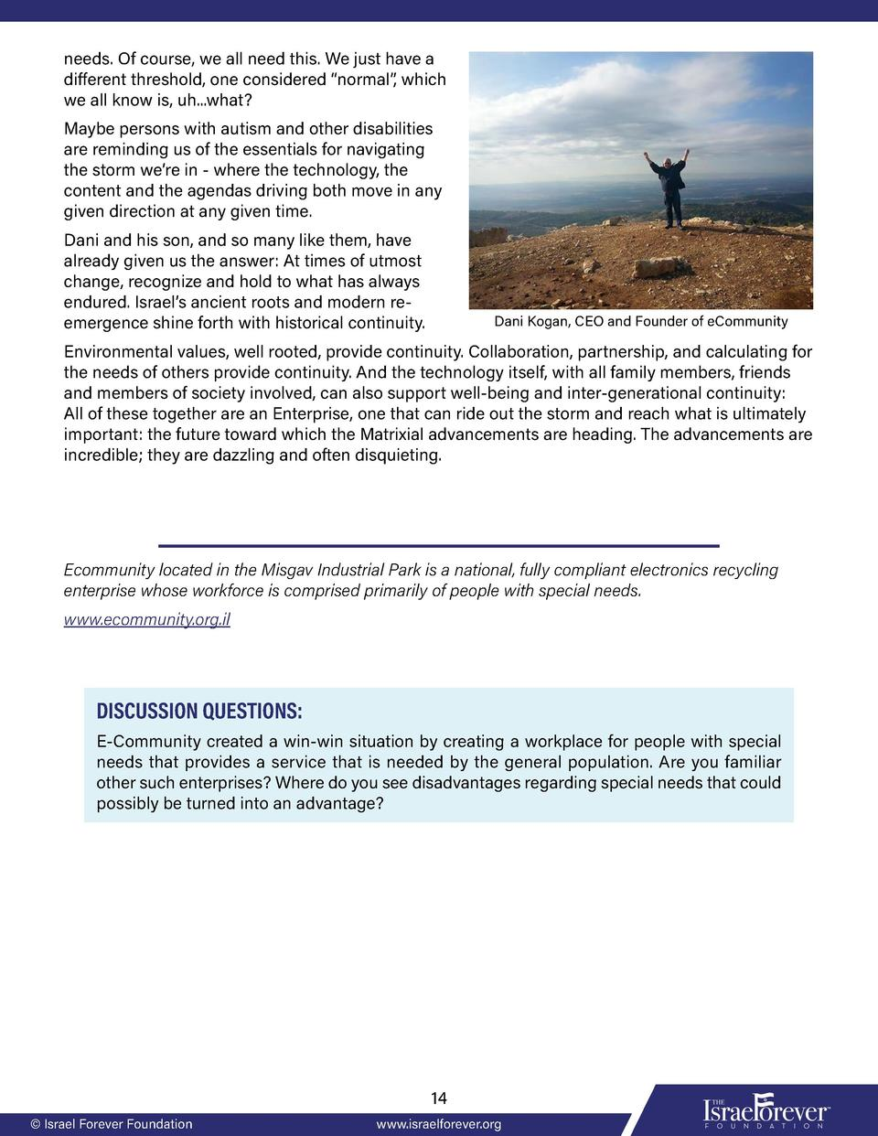 Inclusive Israel: Resource Packet: The Israel Forever Foundation