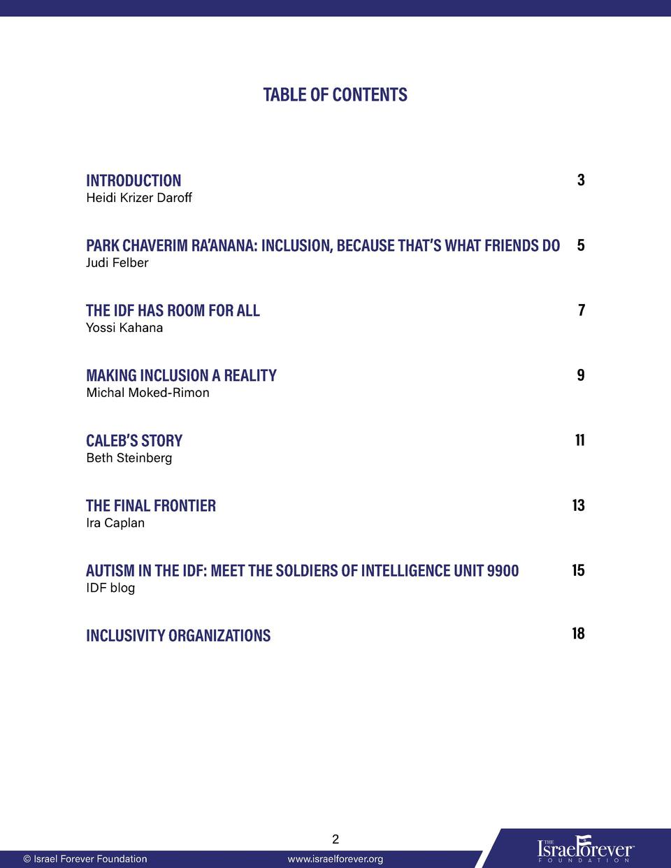 TABLE OF CONTENTS  3  INTRODUCTION  Heidi Krizer Daroff  PARK CHAVERIM RA   ANANA  INCLUSION, BECAUSE THAT   S WHAT FRIEND...
