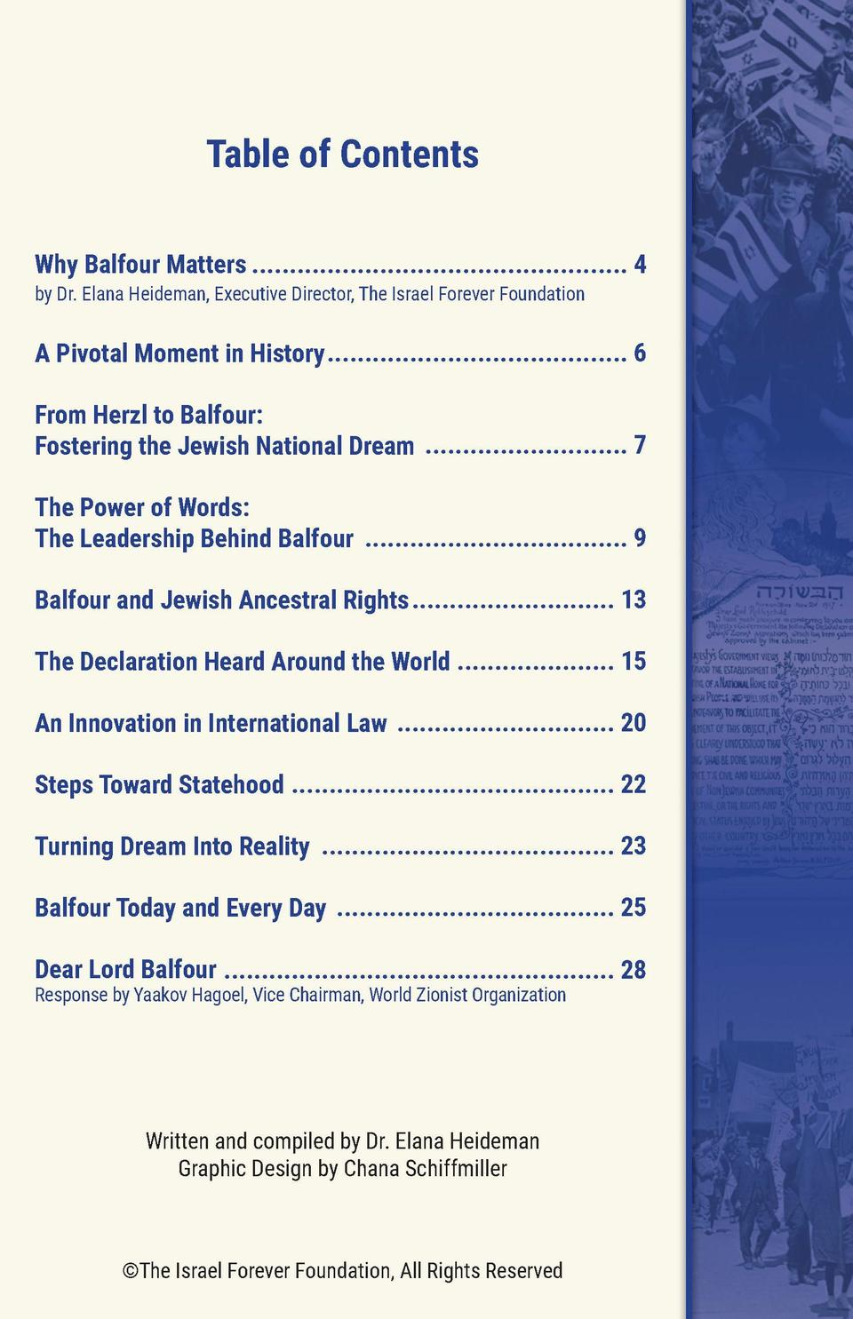 Table of Contents Why Balfour Matters .................................................. 4 by Dr. Elana Heideman, Executiv...