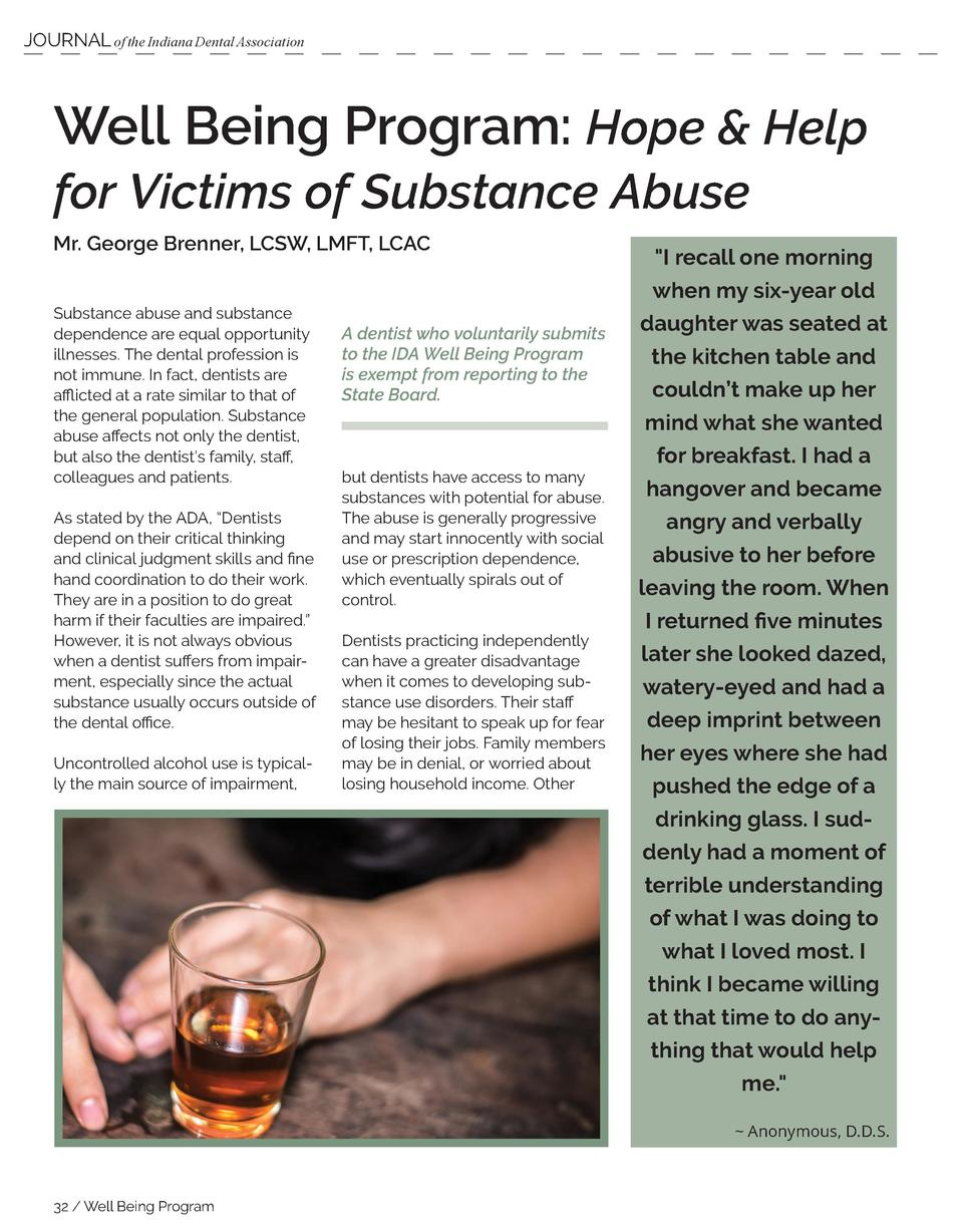 JOURNAL of the Indiana Dental Association  Well Being Program  Hope   Help for Victims of Substance Abuse Mr. George Brenn...
