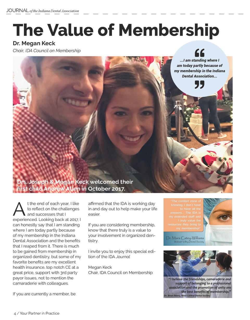 JOURNAL of the Indiana Dental Association  The Value of Membership Dr. Megan Keck Chair, IDA Council on Membership      .....