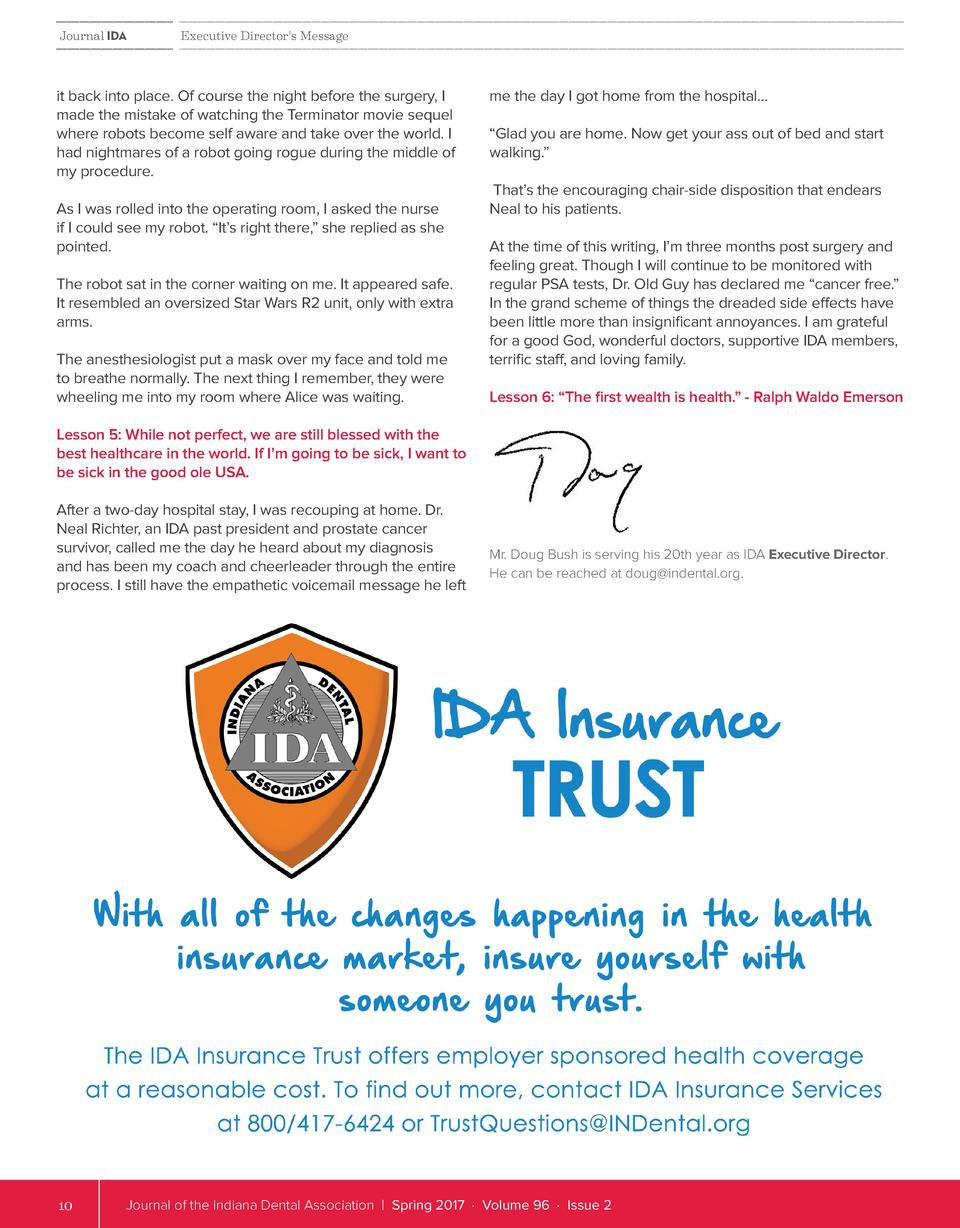 Journal IDA  Executive Director s Message  it back into place. Of course the night before the surgery, I made the mistake ...