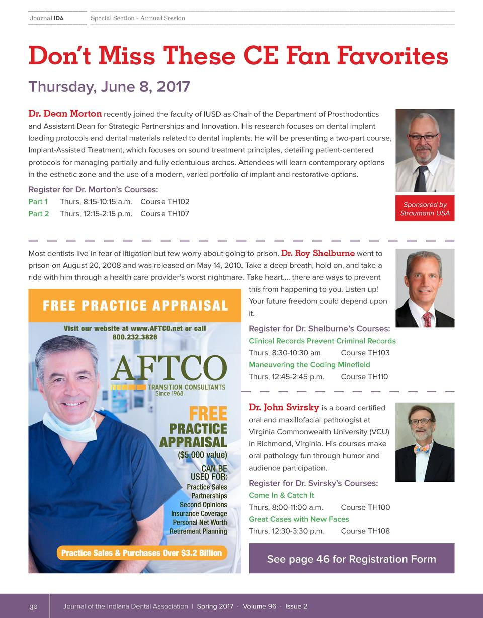 Journal IDA  Special Section - Annual Session  Don   t Miss These CE Fan Favorites Thursday, June 8, 2017 Dr. Dean Morton ...