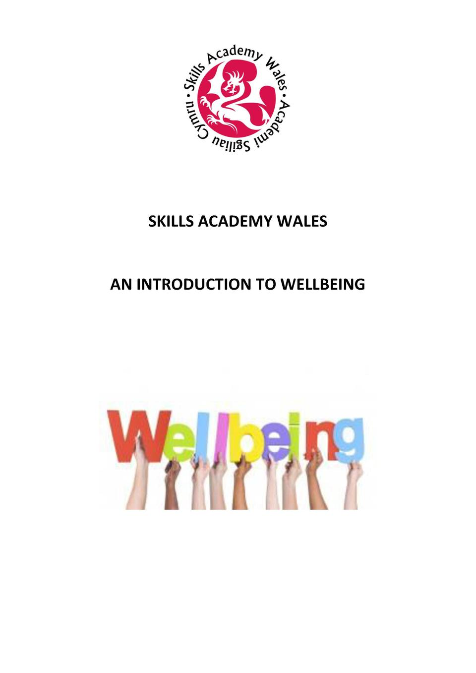 SKILLS ACADEMY WALES  AN INTRODUCTION TO WELLBEING