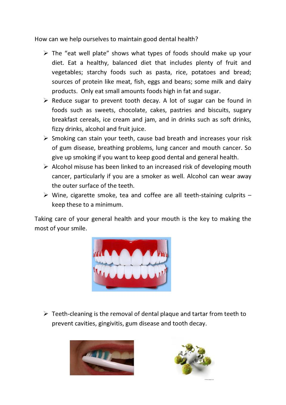 How can we help ourselves to maintain good dental health      The    eat well plate    shows what types of foods should ma...