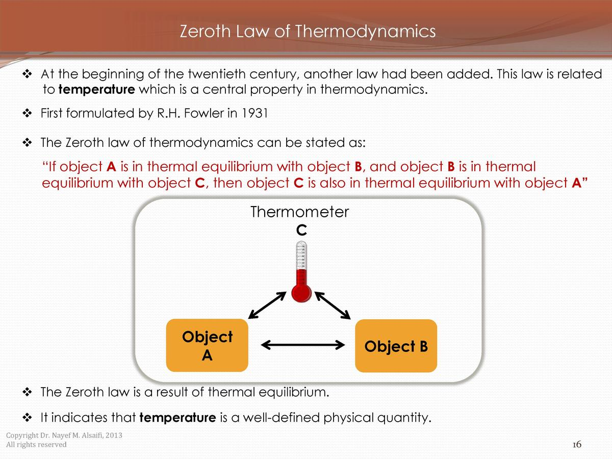 Zeroth Law of Thermodynamics     At the beginning of the twentieth century, another law had been added. This law is relate...