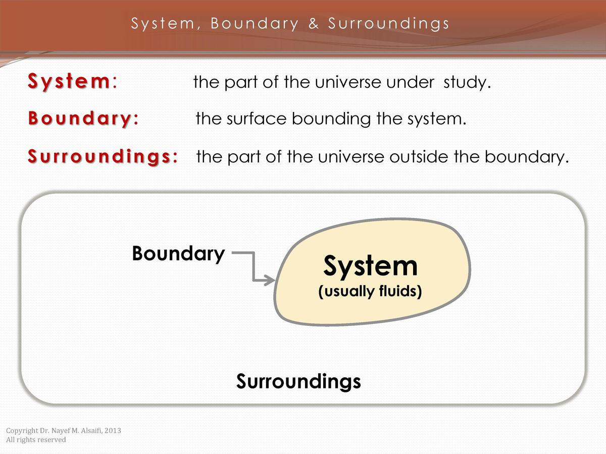 System, Boundary   Surroundings  System   the part of the universe under study.  Boundary   the surface bounding the syste...