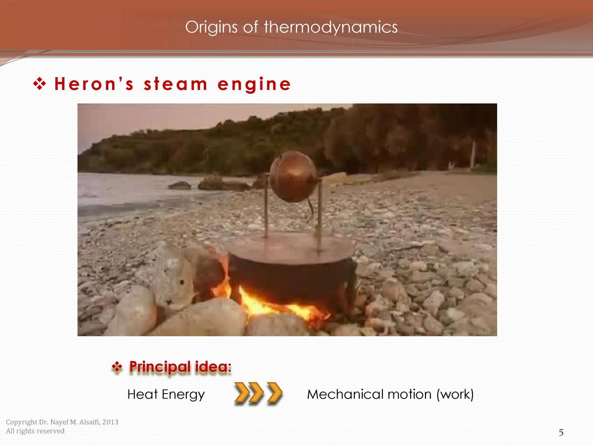 Origins of thermodynamics      Heron   s steam engine      Principal idea  Heat Energy Copyright Dr. Nayef M. Alsaifi, 201...