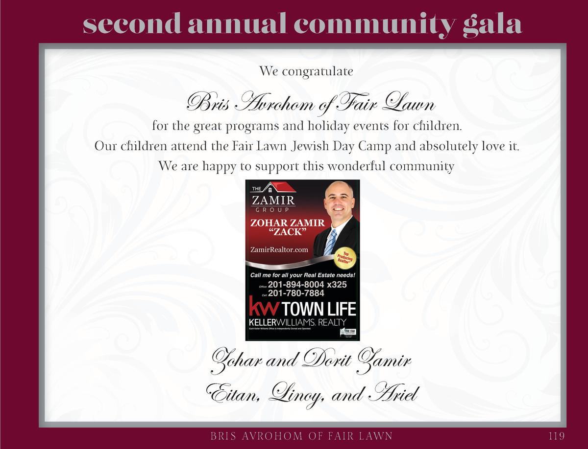 second annual community gala We congratulate  Bris Avrohom of Fair Lawn  for the great programs and holiday events for chi...