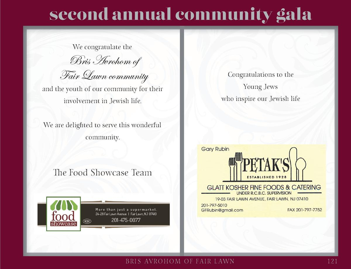 second annual community gala We congratulate the  Bris Avrohom of Fair Lawn community  Congratulations to the  involvement...