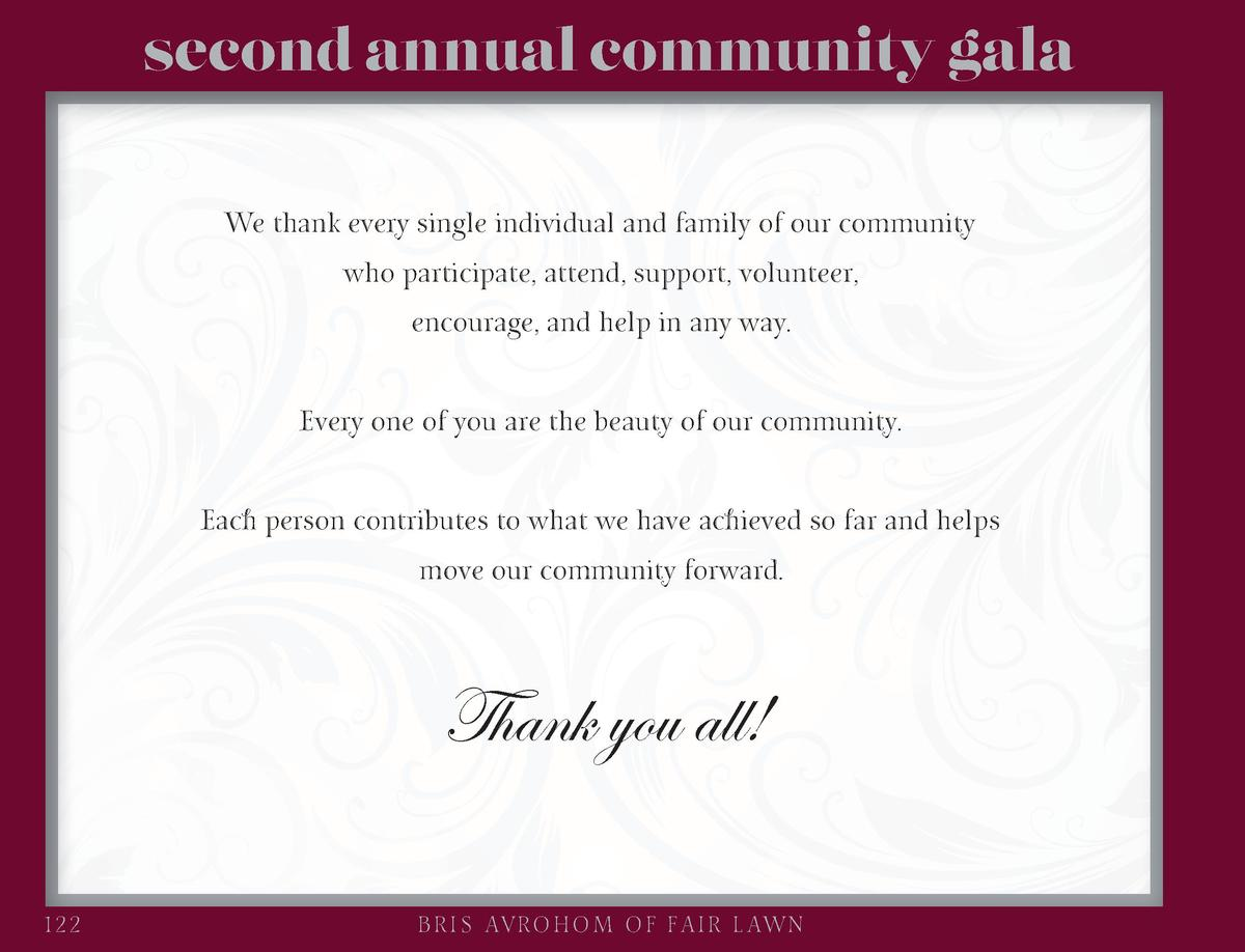 second annual community gala We thank every single individual and family of our community who participate, attend, support...