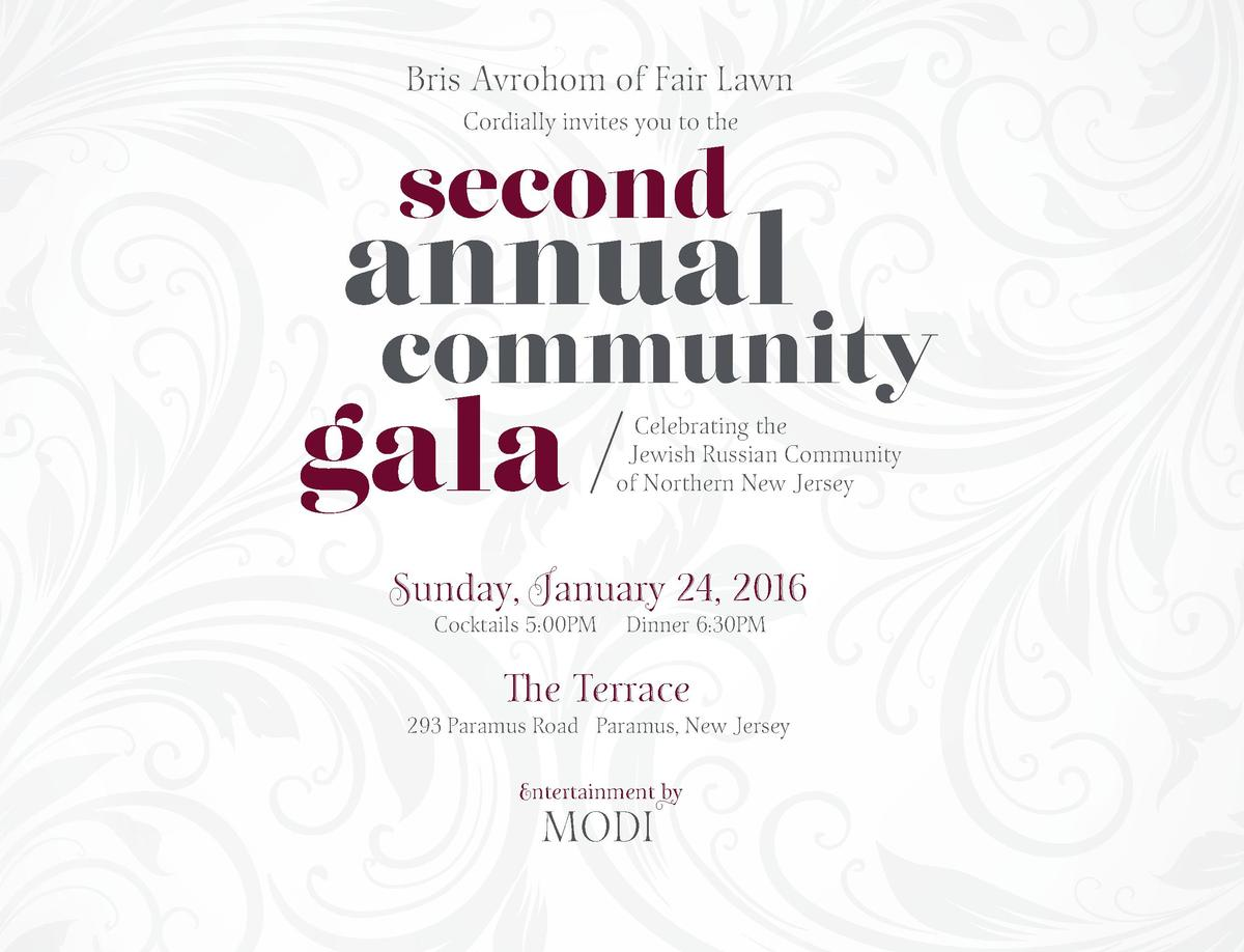 Bris Avrohom of Fair Lawn Cordially invites you to the  second  annual  community  gala  Celebrating the Jewish Russian Co...