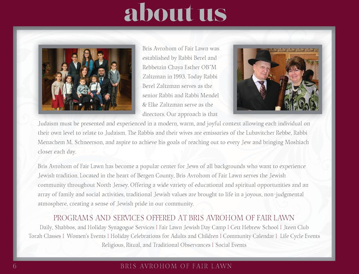 about us Bris Avrohom of Fair Lawn was established by Rabbi Berel and Rebbetzin Chaya Esther OB M Zaltzman in 1993. Today ...