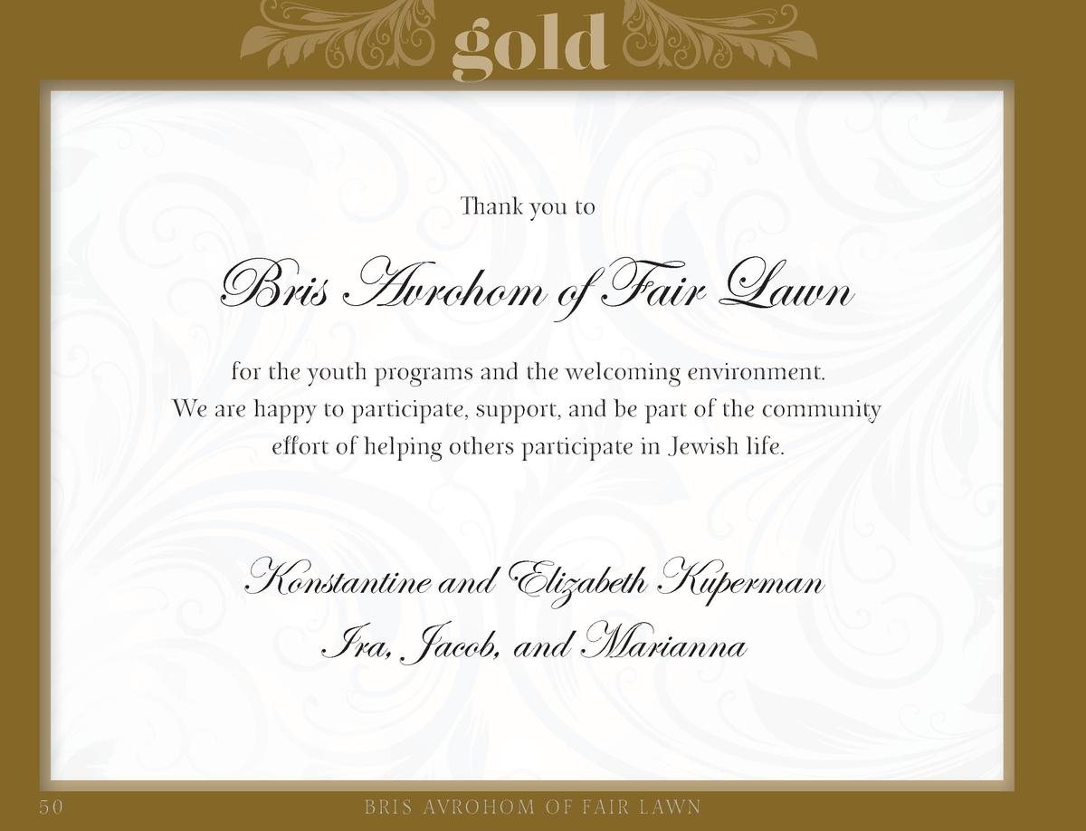 gold Thank you to  Bris Avrohom of Fair Lawn for the youth programs and the welcoming environment. We are happy to partici...