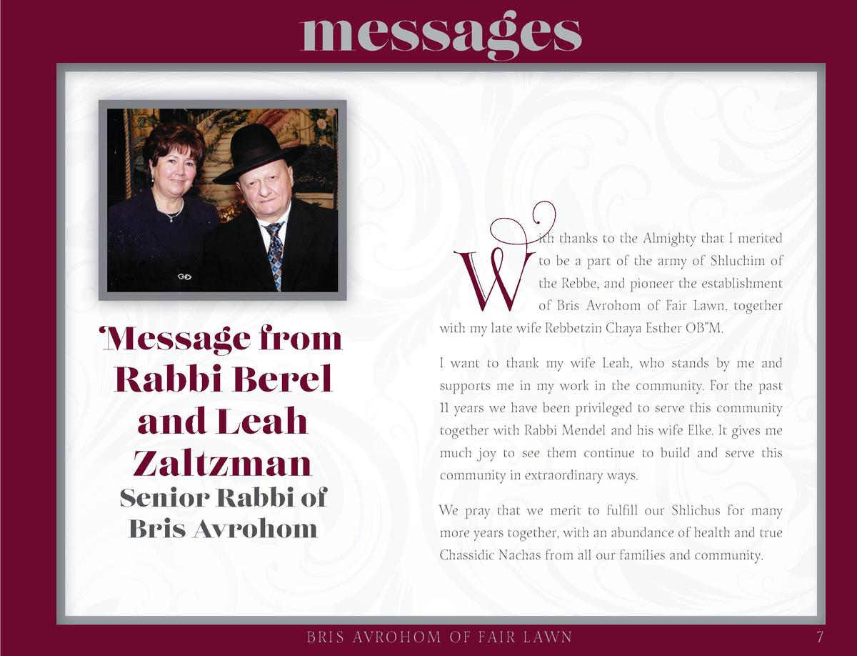 messages  Message from  Rabbi Berel and Leah Zaltzman Senior Rabbi of Bris Avrohom  W  ith thanks to the Almighty that I m...