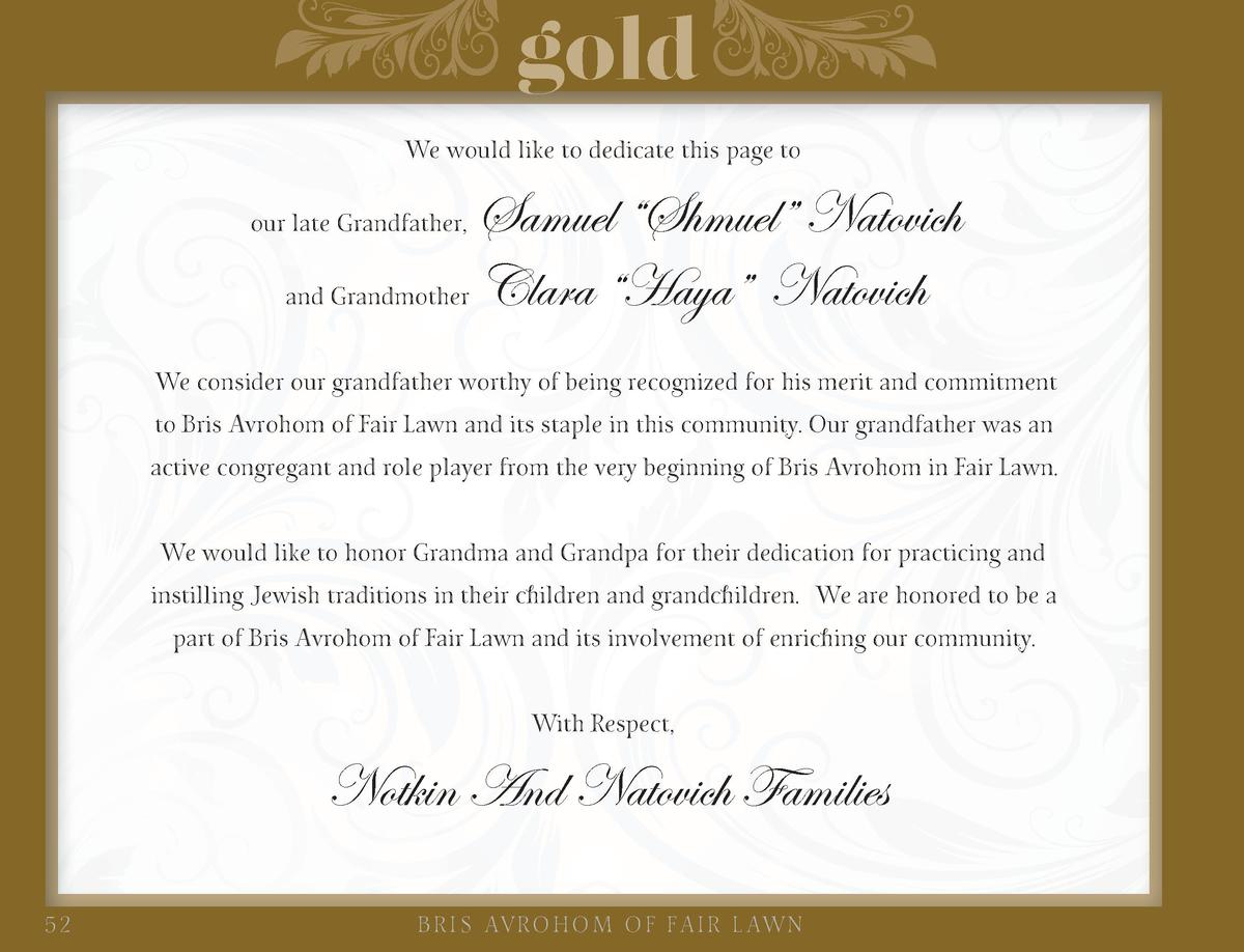 gold We would like to dedicate this page to  Samuel    Shmuel    Natovich and Grandmother Clara    Haya    Natovich  our l...