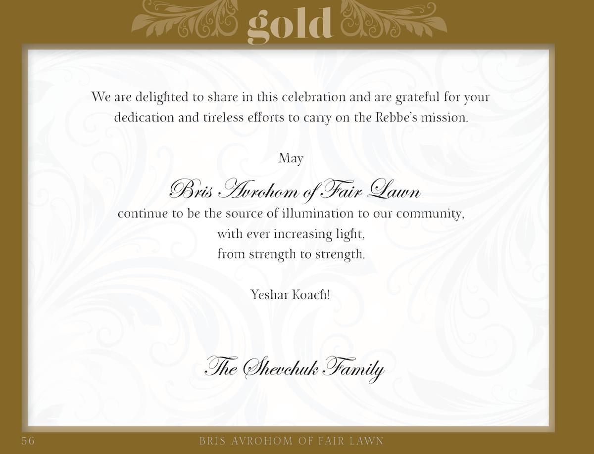 gold We are delighted to share in this celebration and are grateful for your dedication and tireless efforts to carry on t...