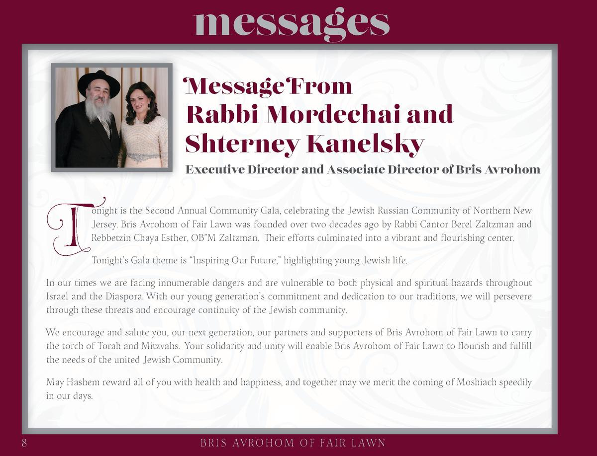 messages Message From  Rabbi Mordechai and Shterney Kanelsky  T  Executive Director and Associate Director of Bris Avrohom...