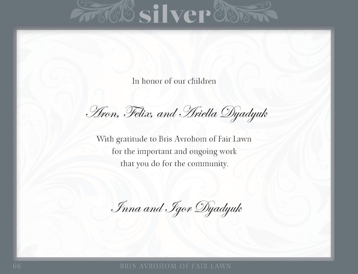 silver In honor of our children  Aron, Felix, and Ariella Dyadyuk With gratitude to Bris Avrohom of Fair Lawn for the impo...