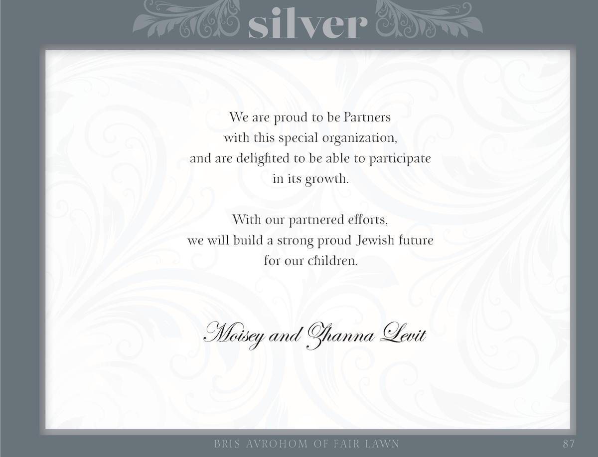silver We are proud to be Partners with this special organization, and are delighted to be able to participate in its grow...