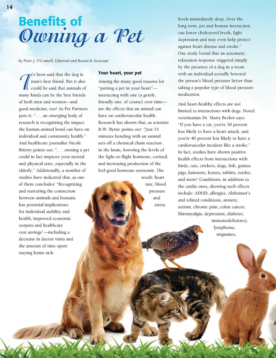 14 14  Benefits of  Owning a Pet by Peter J. O   Connell, Editorial and Research Associate  I  t   s been said that the do...