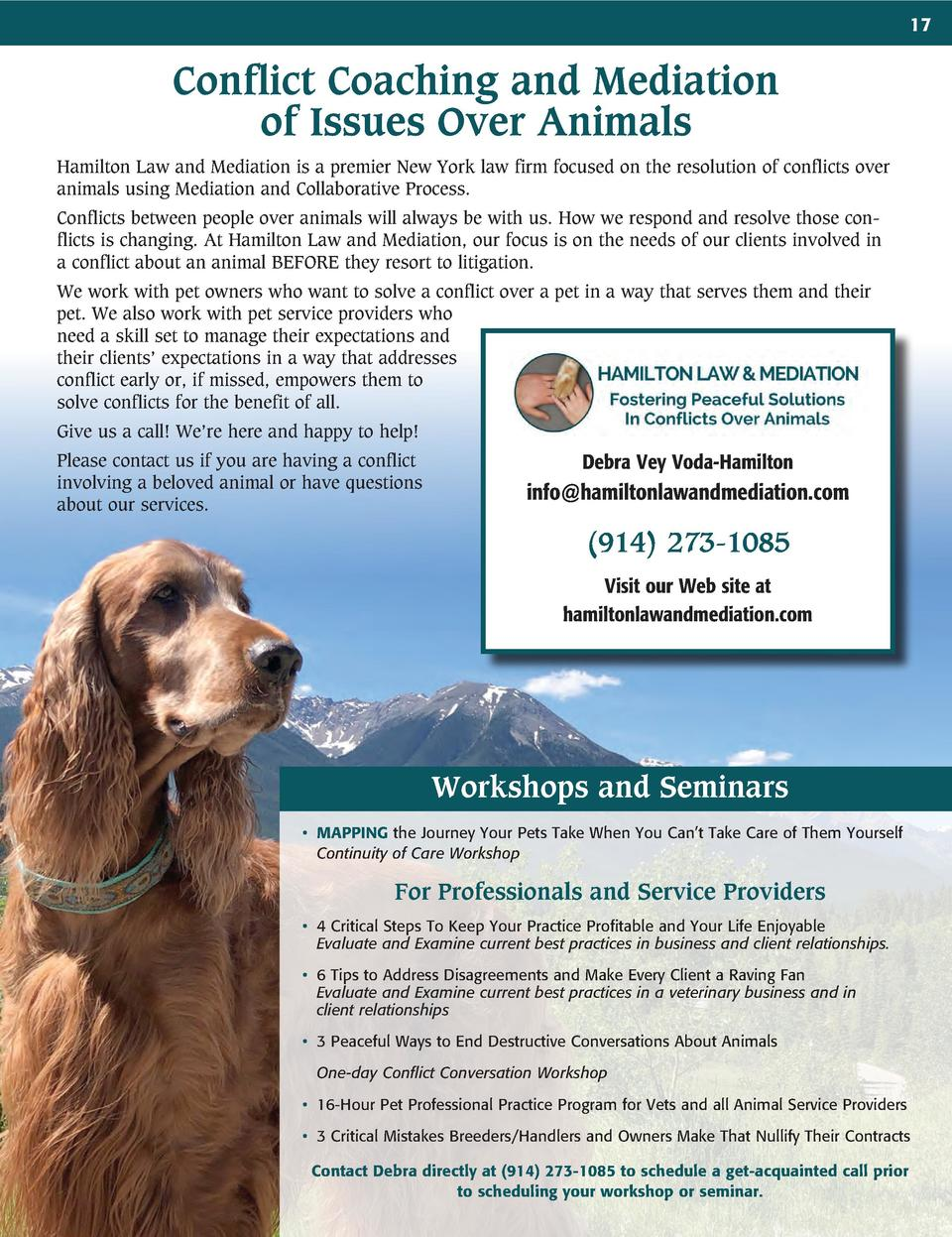 17  Conflict Coaching and Mediation of Issues Over Animals Hamilton Law and Mediation is a premier New York law firm focus...