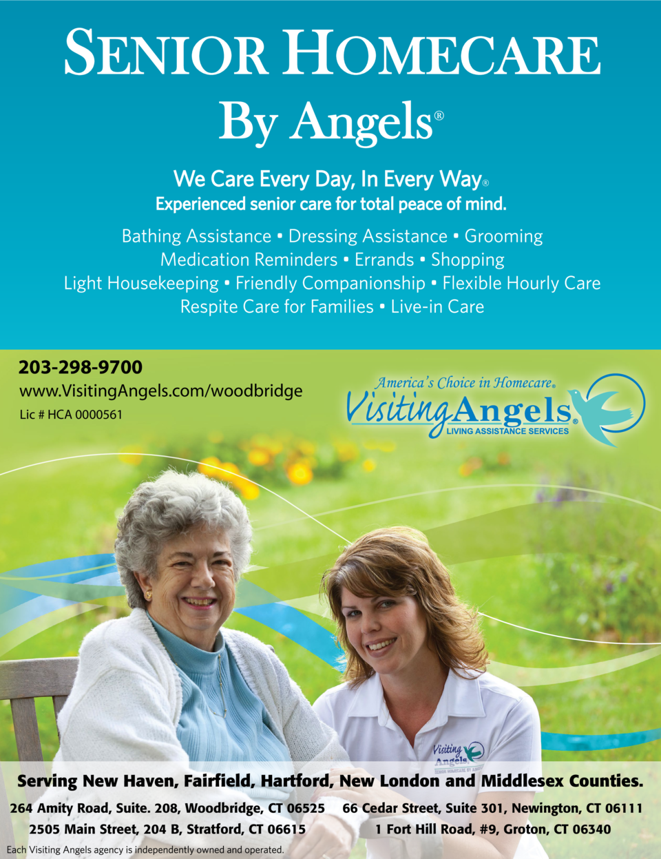 203-298-9700 www.VisitingAngels.com woodbridge Lic   HCA 0000561  Serving New Haven, Fairfield, Hartford, New London and M...