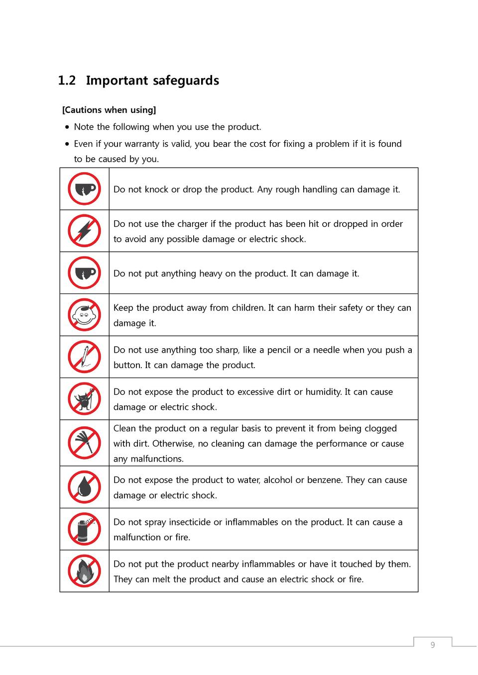 1.2 Important safeguards  Cautions when using      Note the following when you use the product.     Even if your warranty ...